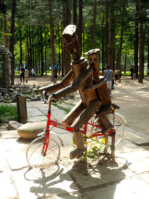 Wooden bicycle statue on Namiseom Island, Gapyeong, South Korea