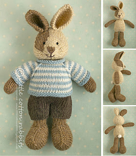 Knitted stuffed bunny rabbit with removable clothes. Just in time for Easter