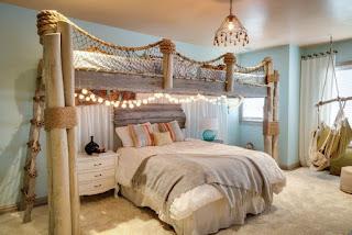 Beach Theme Bedroom with Net Design