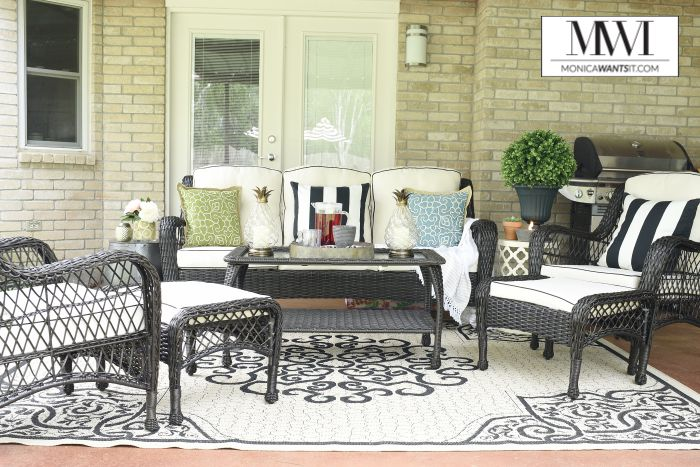 An outdoor patio makeover with budget decor ideas in a neutral color palette.