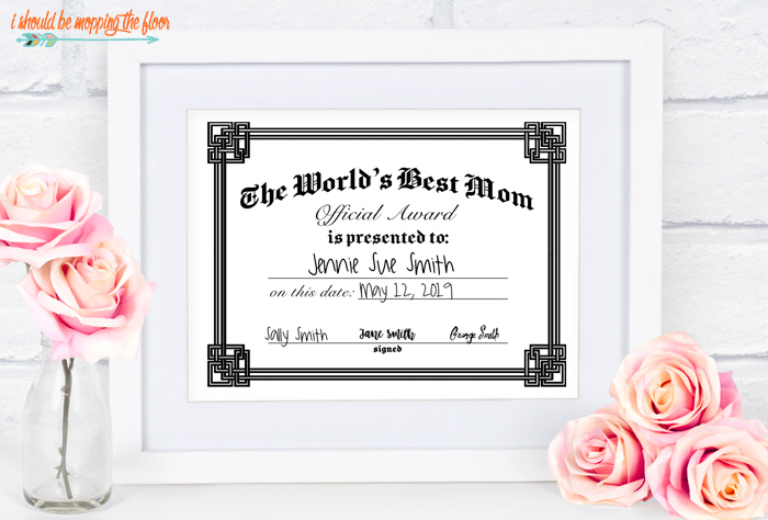 Printable World's Best Mom Certificates