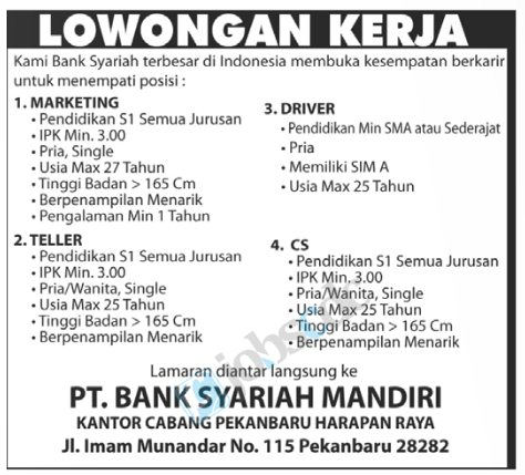 Pt bank syariah mandiri - marketing, teller, driver & cs customer