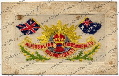 Embroidered postcard showing the British and Australian flags (D/DLI 7/913/179)