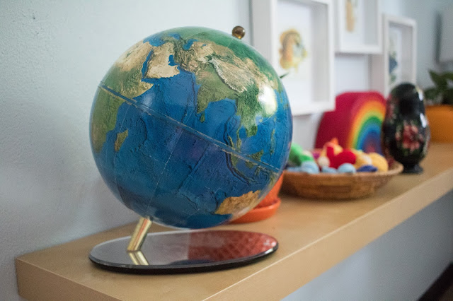 Using maps and globes in your home can add a beautiful touch to your space and help children become more globally aware.