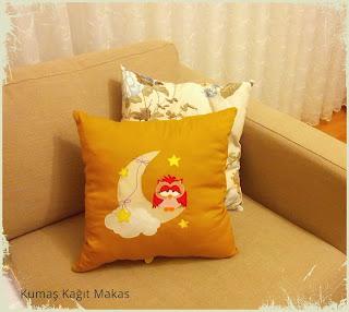 Baykuş aplikeli yastık 2