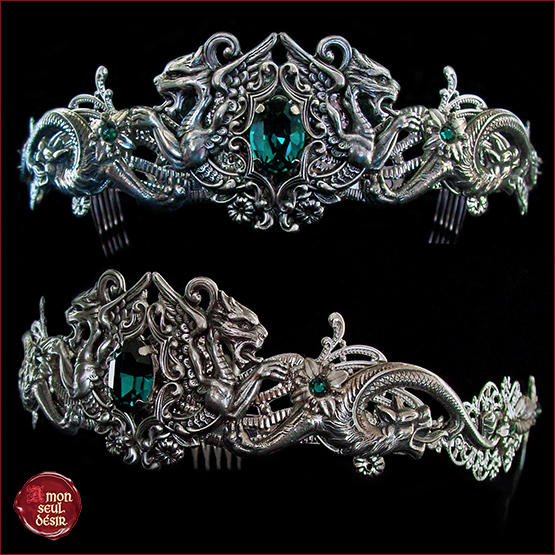 couronne médiévale fantastique dragon vert émeraude crown medieval fantasy dragons circlet green emerald queen mythical