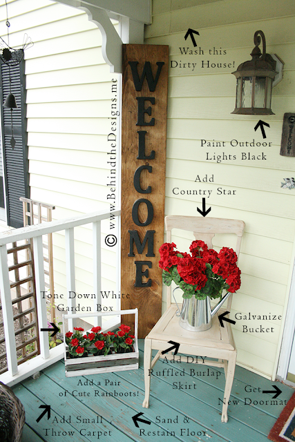 To-Do List: DIY Decorating Summer Porchscape in Wood, Metal and Geraniums | Behind the Designs Craft Blog