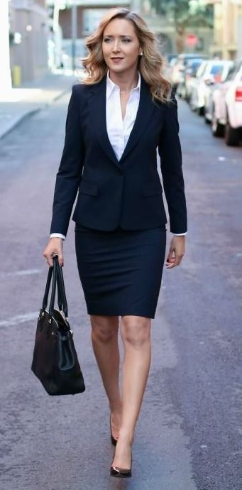 classic business outfit idea : white shirt + bag + heels + blazer + pencil skirt