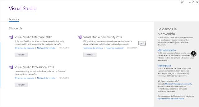 Panel de Control de Visual Studio 2017.