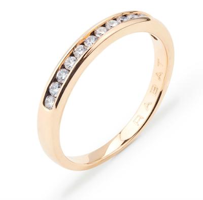 Alianza de boda en oro rosa con diamantes de RABAT - Blog Mi Boda