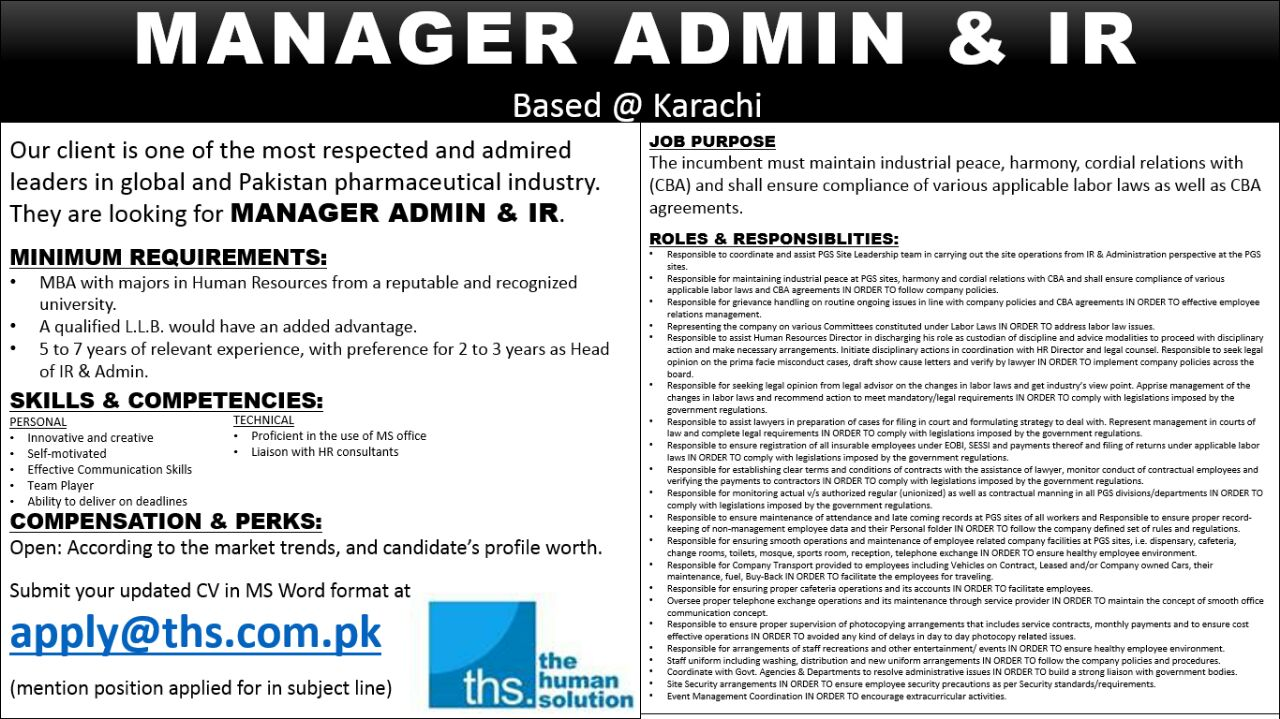latest jobs and vacancies manager admin ir job available based at karachi mba major in hr and llb degree would be preferred