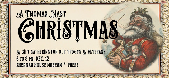 A Thomas Nast Christmas Banner with Santa Holding Presents
