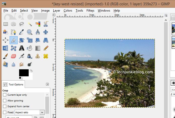 GIMP cropped photo