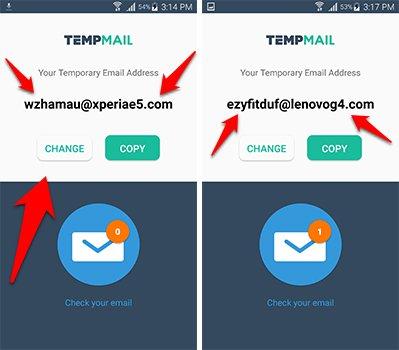 يوفر تطبيق Temp Mail  عدد كبير من الايميلات الوهمية