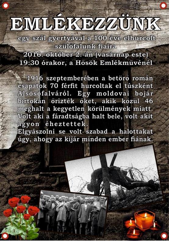 1916-os megemlékezés Alsósófalván