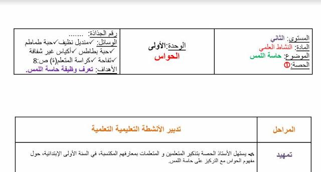 جذاذات الوحدة الأولى المختار في النشاط العلمي المستوى الثاني PDF - WORD