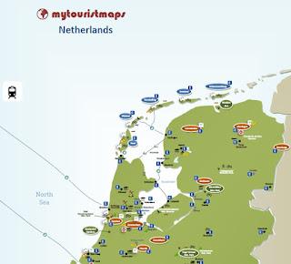 NETHERLANDS travel tourist map