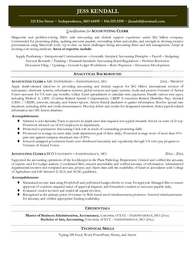 Sample Resume Title Examiner. Entry Level Bookkeeping Free