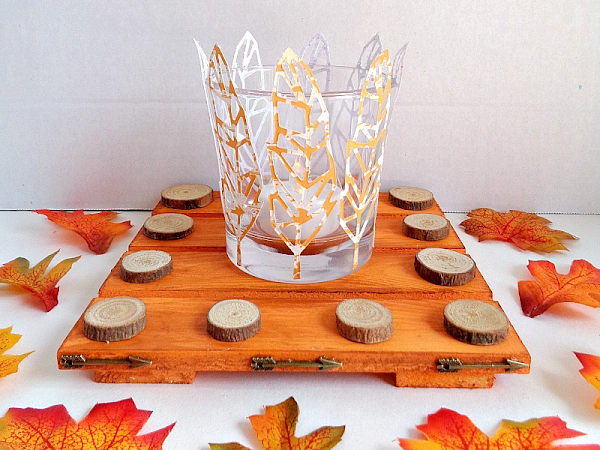 DIY: Fall Inspired Paper Feather Tea Light Holder With Trivet