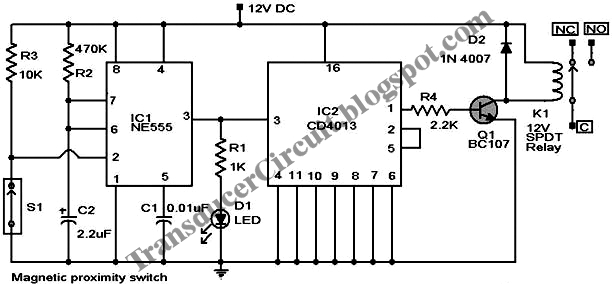 magnetic proximity switch using cd4013 ne555