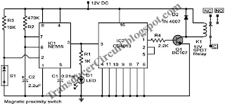 Magnetic Proximity Switch Circuit ~ Transducer Circuit Diagram