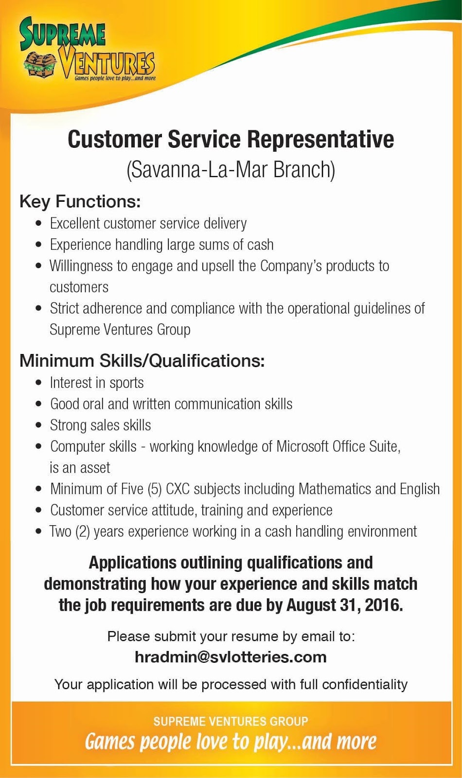 jobs postings caribbean customer service representative savanna customer service representative savanna la mar supreme ventures