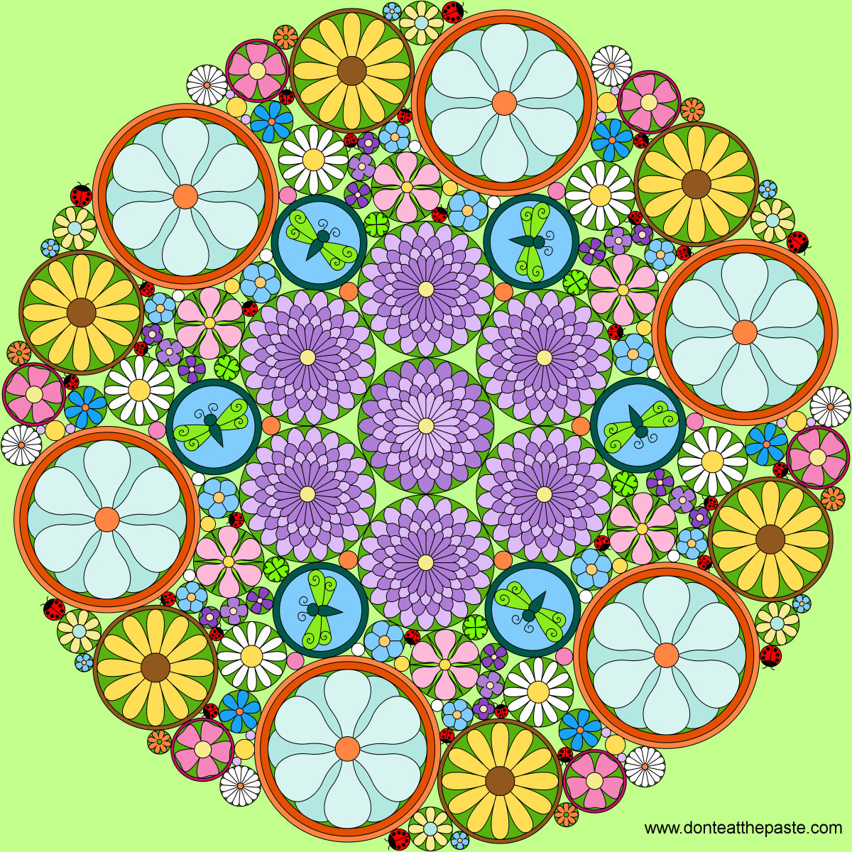 Dont Eat The Paste Really Intricate Flower Mandala To Color - Mandalas-en-color