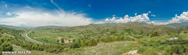 Panorama of region near villages Skochivir (center), Polog, the peaks Chuka and Crna River