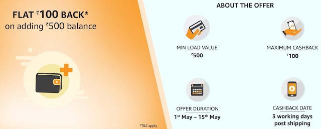 Flat ₹100 Cashback on Adding ₹500 Amazon Pay Balance
