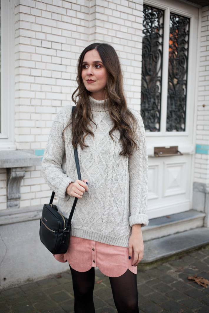 Outfit: cable knit, pink scallop hem skirt