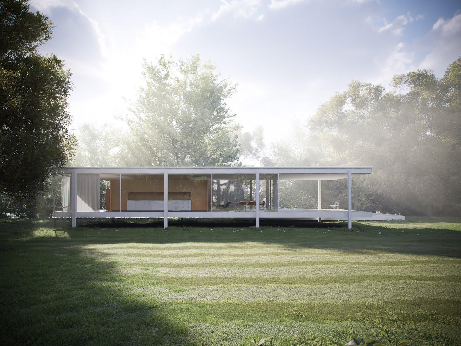 archidia farnsworth house 3d. Black Bedroom Furniture Sets. Home Design Ideas