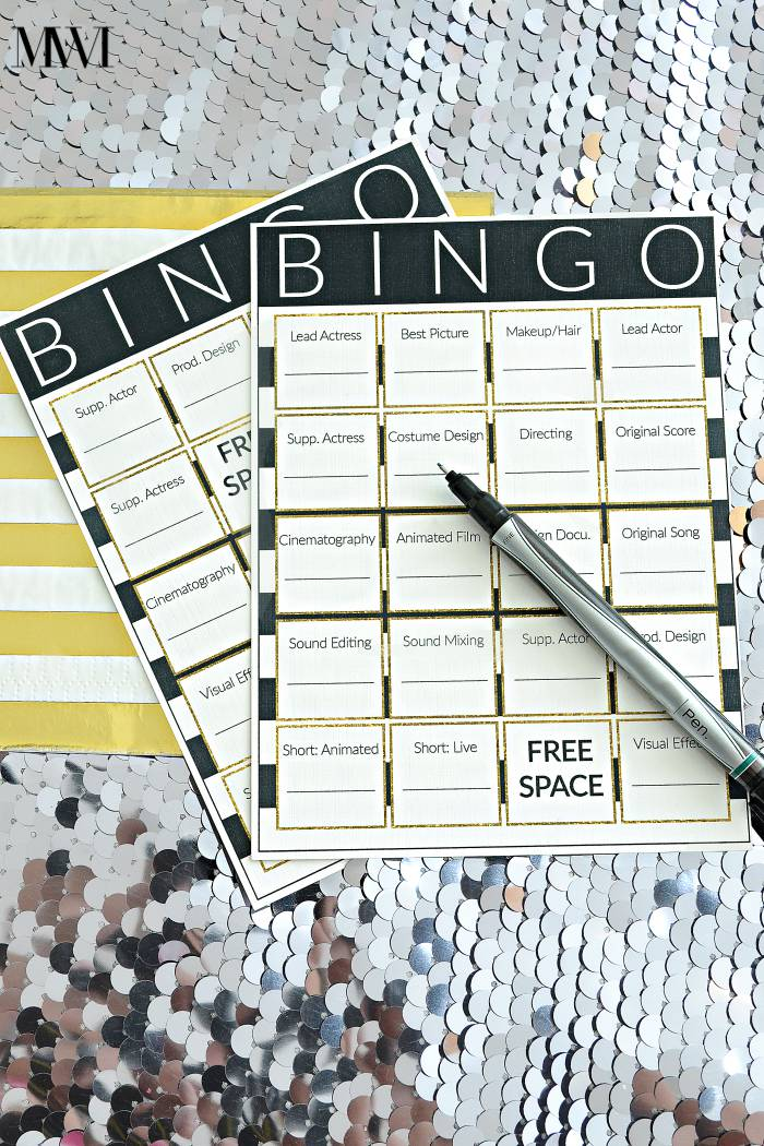 Free printable bingo card for movie awards show party! So cute and fun for guests. via monicawantsit.com