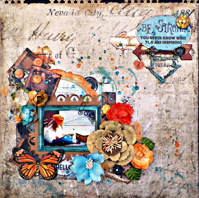 "Stay Strong Layout by Lisa Novogrodski for Scraps of Darkness using the March kit ""Boys will be boys"""