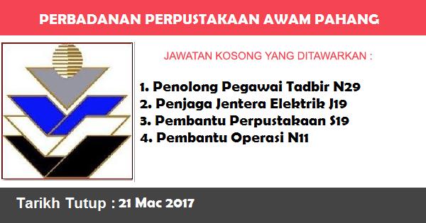 Jawatan Kosong di Perbadanan Perpustakaan Awam Pahang