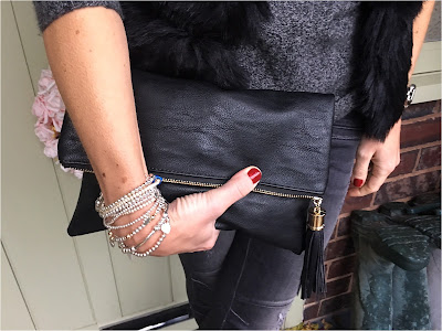 My Midlife Fashion, Yosa, The Jane Clutch Bag, Bella Jane Jewellery, Zara Draped Cashmere Jumper, Faux Fur Gilet, Zara Biker jeans