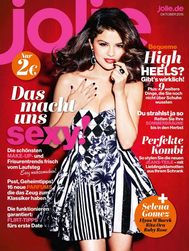 Selena Gomez spills cleavage on the Jolie Magazine October 2015 cover