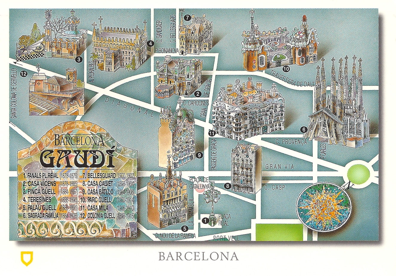 Map 24 Spain.My Favorite Views Spain Barcelona Gaudi Map