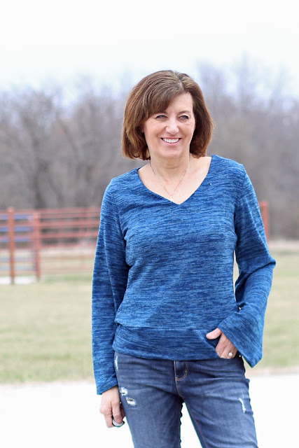 McCall's 7445 sweater using a beautiful Style Maker Fabrics adding a bottom band for length
