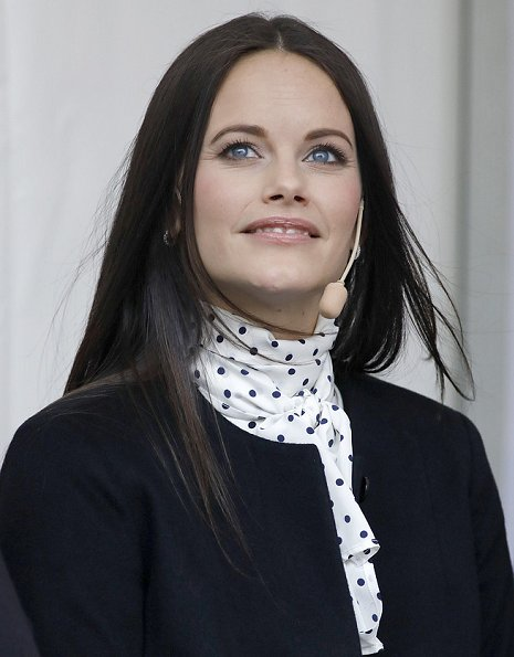 Princess Sofia wore Mayla blouse and By Malene Birger Coat and Zara blouse. Sofia wore-Saint Laurent Black Suede Babies Boots