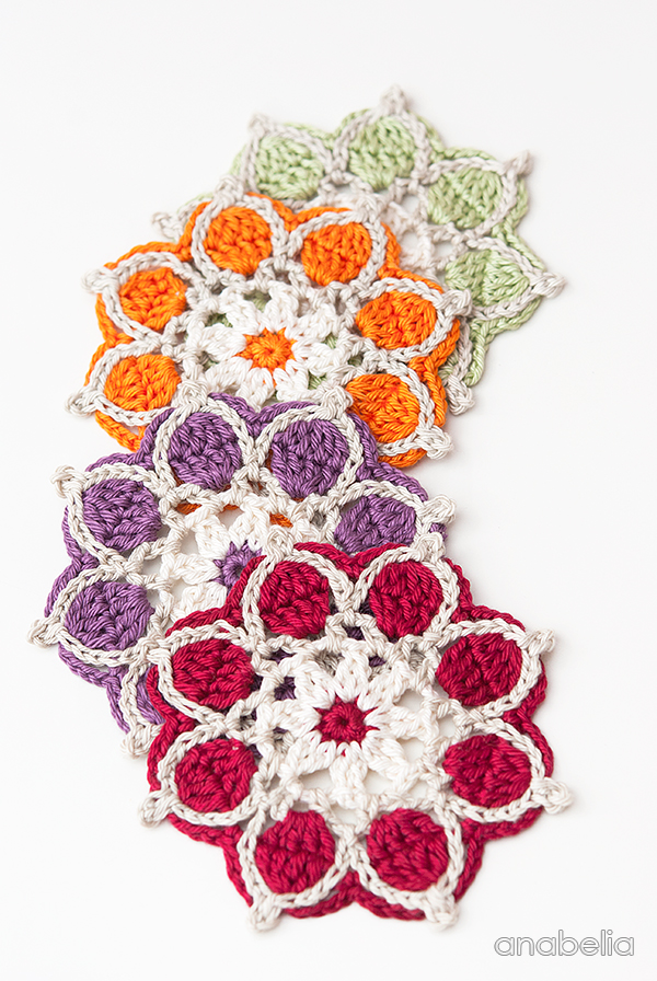 Winter Flowers Crochet Coasters by Anabelia Craft Design