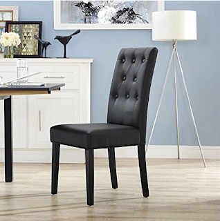 Hawthorne Collections Faux Leather Dining Side Chair in Black