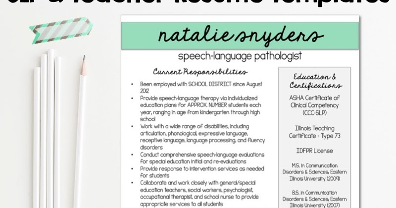 Resumes for SLPs and New Grads - Natalie Snyders, SLP - slp resume examples