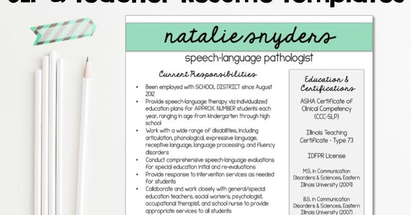 Natalie Snyders, SLP   Blogspot  Slp Resume Examples