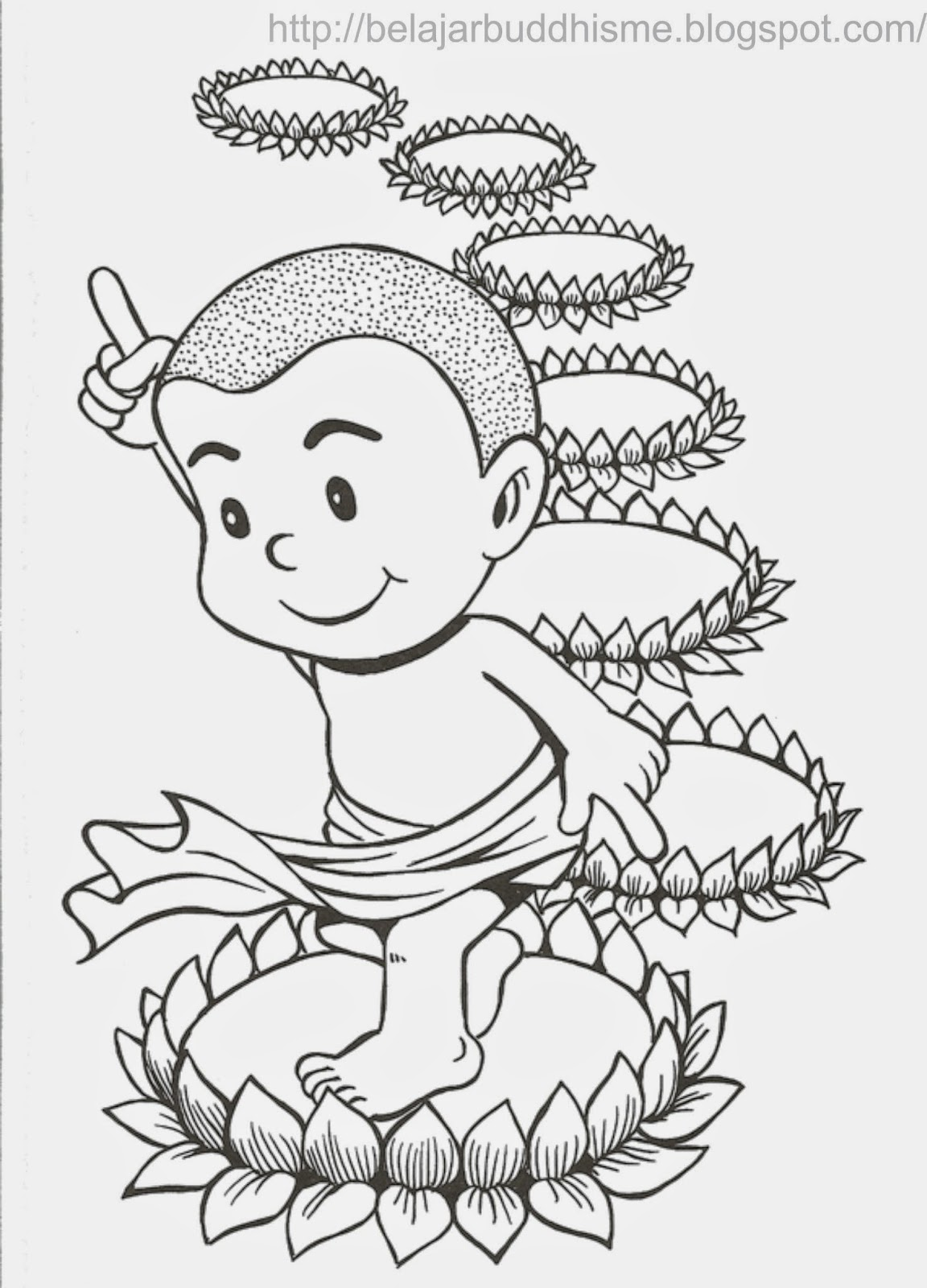 Gambar Berbagi Dhamma Buddhis Anak Mewarnai Vihara