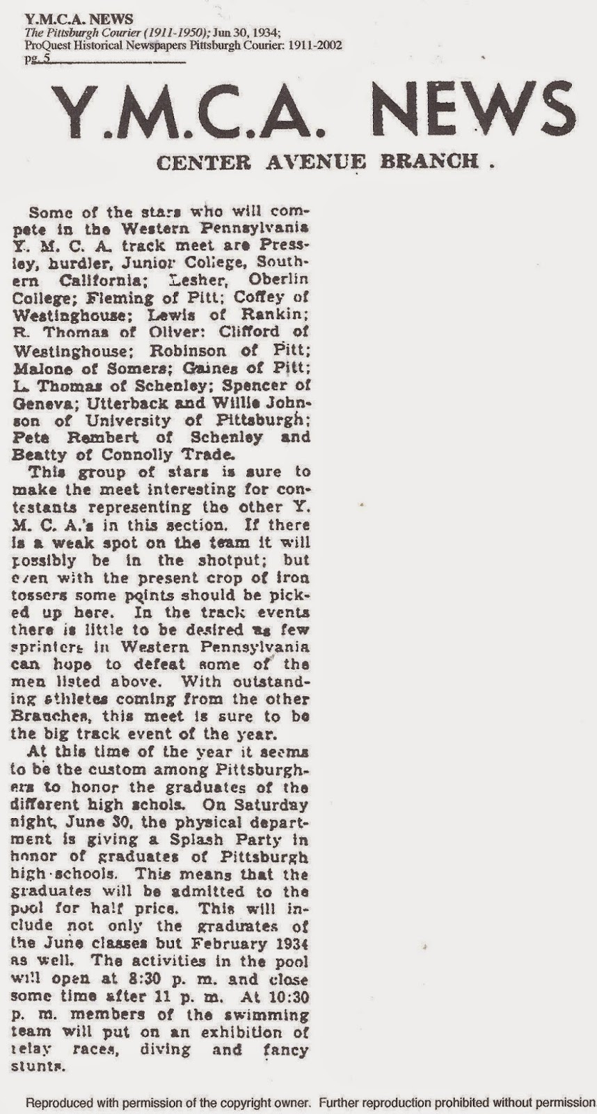 Black Buzz: YMCA News Center Avenue Branch, June 30, 1934