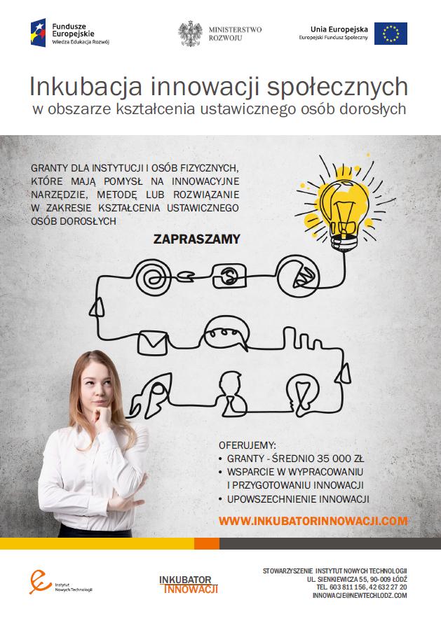 Inkubacja innowacji społecznych w obszarze kształcenia ustawicznego osób dorosłych - plakat