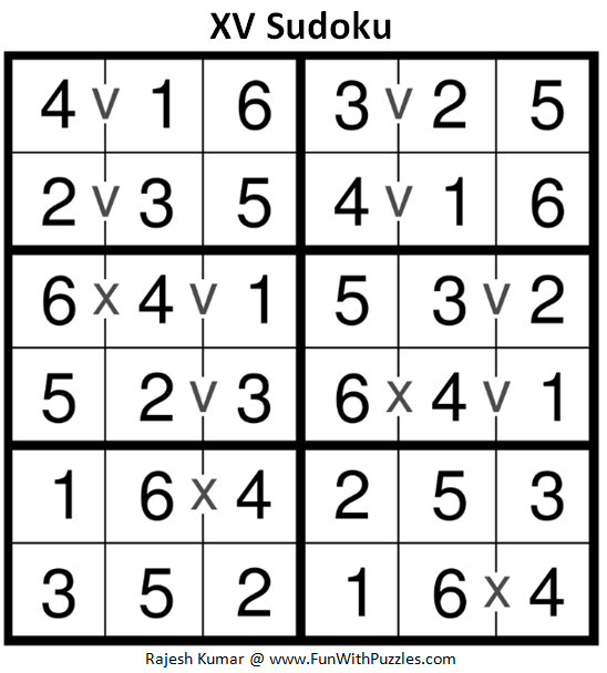 XV Sudoku (Mini Sudoku Series #82) Solution