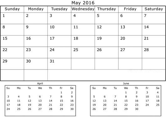 April May June 3 Months Printable Calendar 2016 Cute, April May June 3 ...