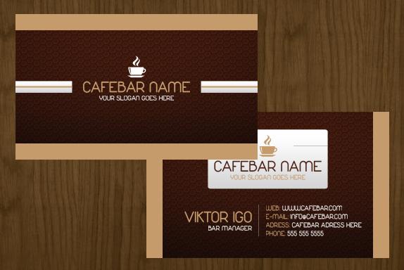 CafeBar Business Card PSD Template