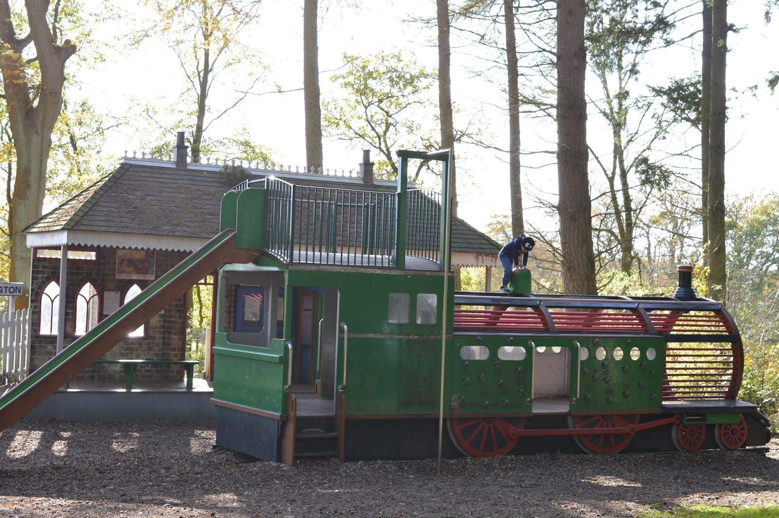 Visiting the Adventure Playground & Outdoor Play Areas at Wallington Hall  - train park